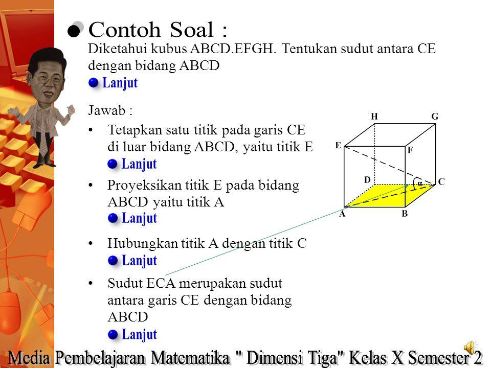 Diketahui kubus ABCD.EFGH. Tentukan sudut antara CE dengan bidang ABCD Jawab : Tetapkan satu titik pada garis CE di luar bidang ABCD, yaitu titik E Pr