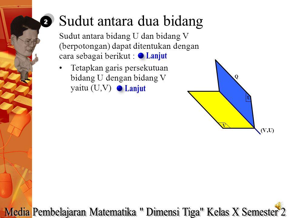 22 Sudut antara bidang U dan bidang V (berpotongan) dapat ditentukan dengan cara sebagai berikut : V U