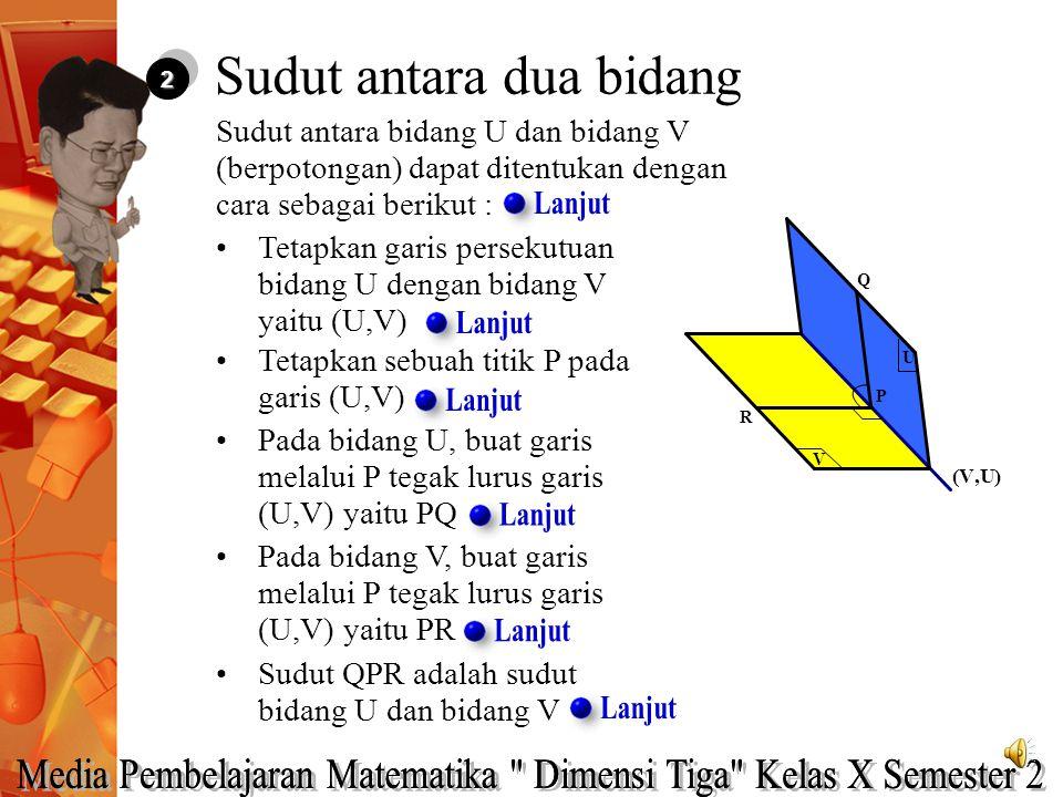 22 Sudut antara bidang U dan bidang V (berpotongan) dapat ditentukan dengan cara sebagai berikut : Tetapkan garis persekutuan bidang U dengan bidang V