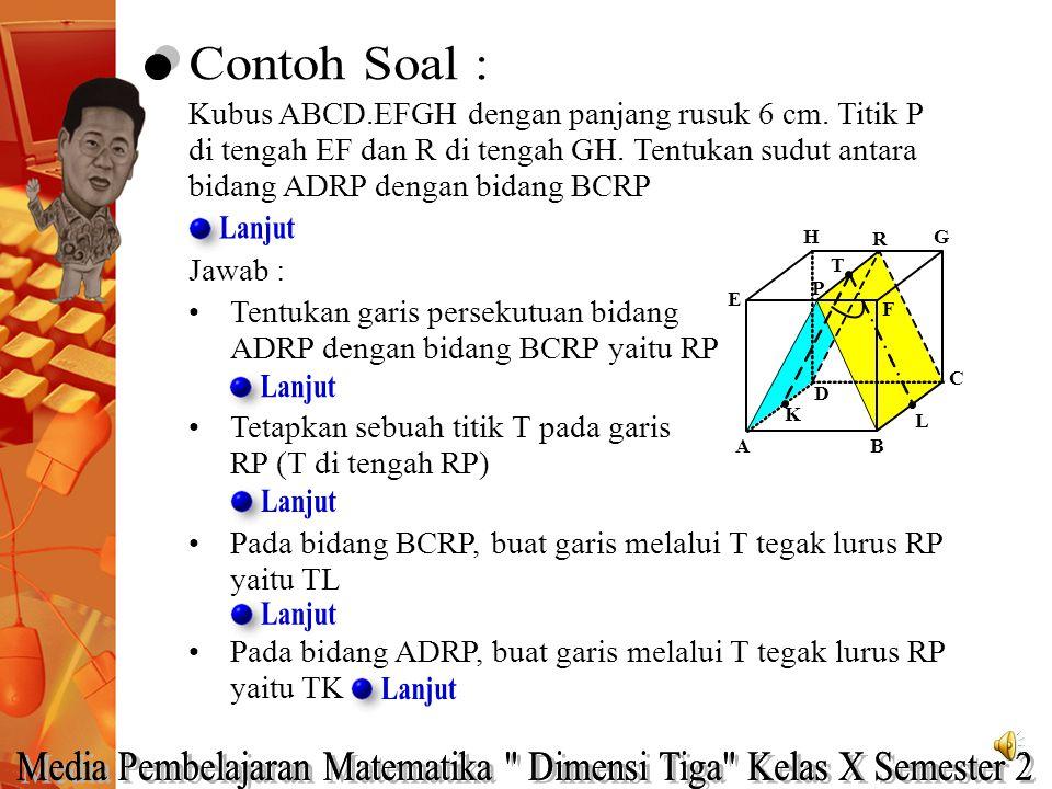 Kubus ABCD.EFGH dengan panjang rusuk 6 cm. Titik P di tengah EF dan R di tengah GH. Tentukan sudut antara bidang ADRP dengan bidang BCRP Jawab : Tentu