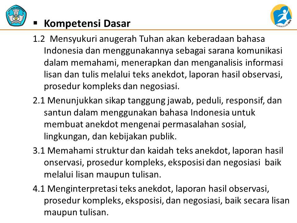  Kompetensi Dasar 1.2 Mensyukuri anugerah Tuhan akan keberadaan bahasa Indonesia dan menggunakannya sebagai sarana komunikasi dalam memahami, menerap