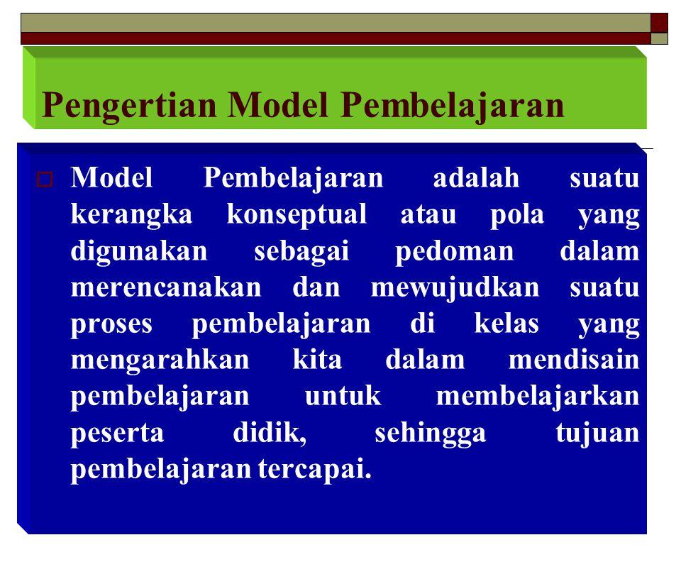  Model Pembelajaran adalah suatu kerangka konseptual atau pola yang digunakan sebagai pedoman dalam merencanakan dan mewujudkan suatu proses pembelaj