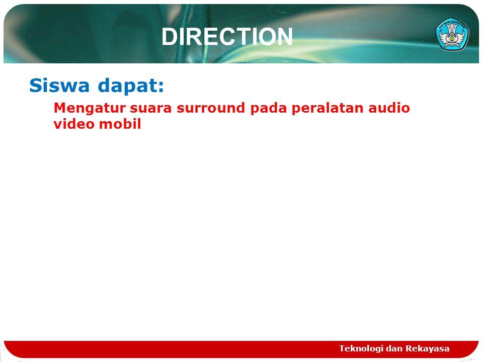 Teknologi dan Rekayasa DIRECTION Siswa dapat: Mengatur suara surround pada peralatan audio video mobil