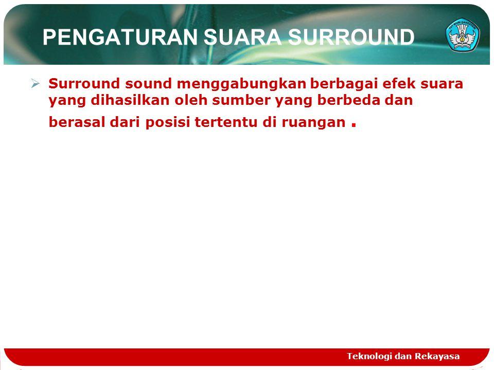 PENGATURAN SUARA SURROUND  Surround sound menggabungkan berbagai efek suara yang dihasilkan oleh sumber yang berbeda dan berasal dari posisi tertentu