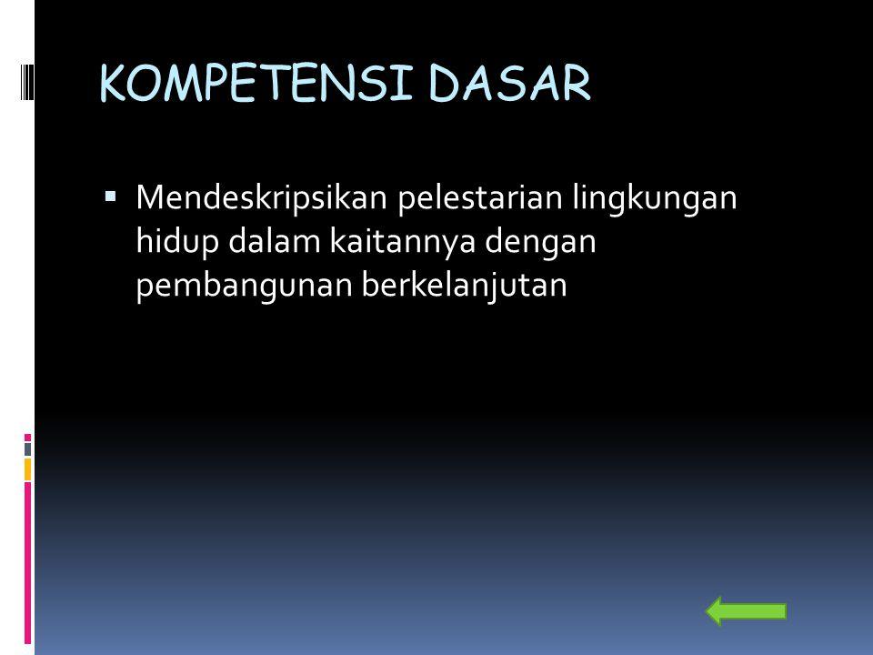 INDIKATOR  1.Merumuskan pengertian pembangunan  berwawasan lingkungan dan berkelanjutan  2.