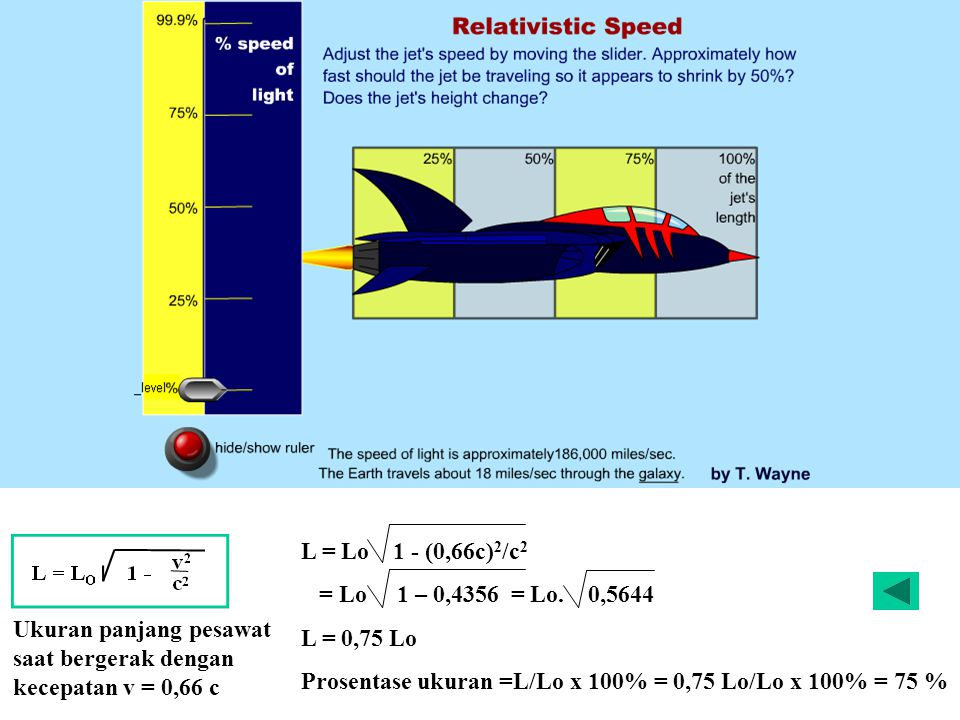 Eksperimen yang dilakukan membuktikan bahwa eter itu tidak ada Lebar sungai ( x ) 60 m dan kecepatan perahu 6 m /s, maka waktu yang di butuhkan t = 60/6 = 10 s Kecepatan perahu 6 m /s, kecepatan aliran sungai 8 m /s maka perahu bergerak dengan kecepatan v = 10 m/s sedangkan lintasan yang ditempuh x = 100 m, maka waktu yang di butuhkan adalah t = 100/6 = 16,7 s