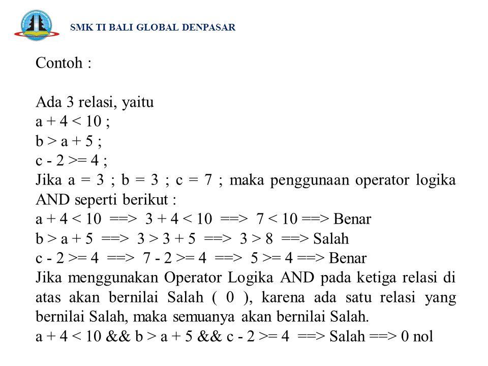 SMK TI BALI GLOBAL DENPASAR Contoh : Ada 3 relasi, yaitu a + 4 < 10 ; b > a + 5 ; c - 2 >= 4 ; Jika a = 3 ; b = 3 ; c = 7 ; maka penggunaan operator l