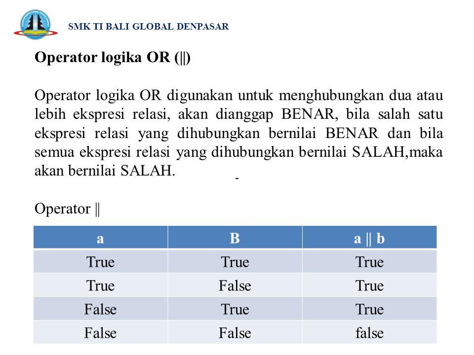 SMK TI BALI GLOBAL DENPASAR Operator logika OR (||) Operator logika OR digunakan untuk menghubungkan dua atau lebih ekspresi relasi, akan dianggap BEN