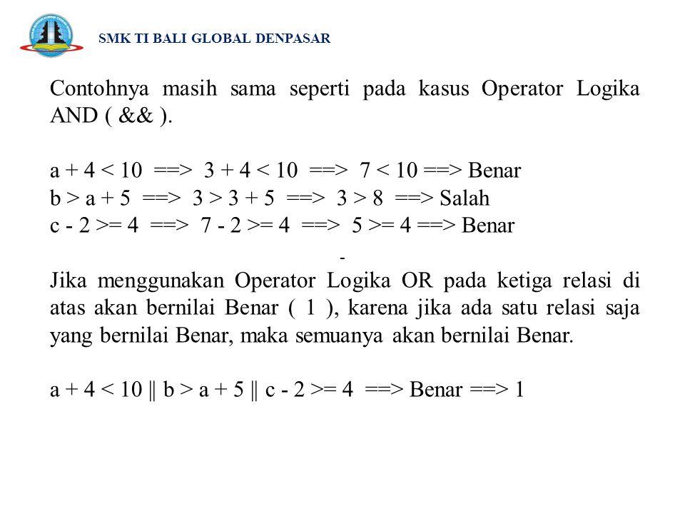 SMK TI BALI GLOBAL DENPASAR Contohnya masih sama seperti pada kasus Operator Logika AND ( && ). a + 4 3 + 4 7 Benar b > a + 5 ==> 3 > 3 + 5 ==> 3 > 8