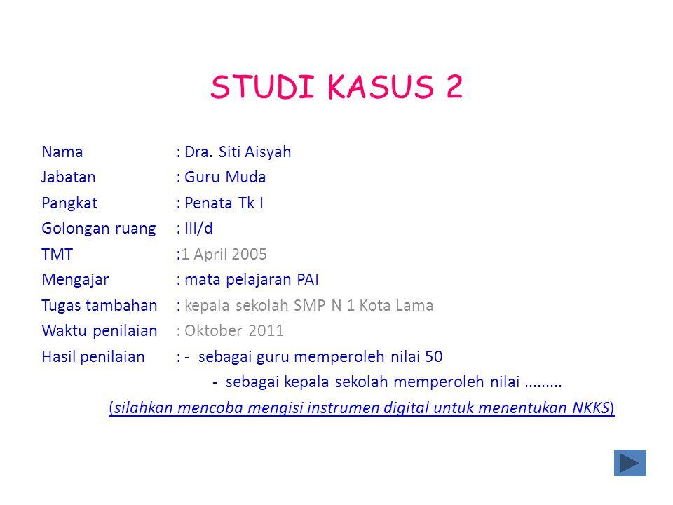 STUDI KASUS 2 Nama: Dra. Siti Aisyah Jabatan: Guru Muda Pangkat: Penata Tk I Golongan ruang: III/d TMT:1 April 2005 Mengajar : mata pelajaran PAI Tuga