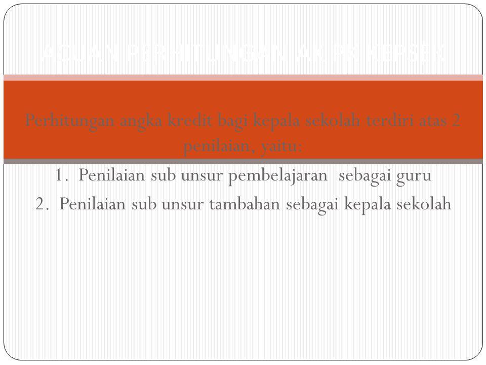 Rumus Perhitungan Kinerja Guru (PKG) NKG = x 100 Ket: NKG = Nilai Penilaian Kinerja Guru Nilai PKG = Penilaian Kinerja Guru yang diperoleh NPKG Maks = 56 berasal dari 14 kompetensi guru x 4 ACUAN PERHITUNGAN SUB UNSUR PEMBELAJARAN (SEBAGAI GURU) Nilai PKG Nilai PKG Maks