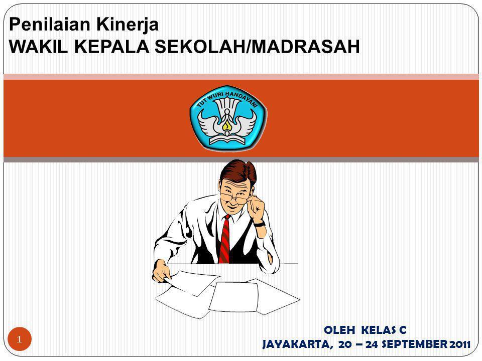 1 Penilaian Kinerja WAKIL KEPALA SEKOLAH/MADRASAH OLEH KELAS C JAYAKARTA, 20 – 24 SEPTEMBER 2011