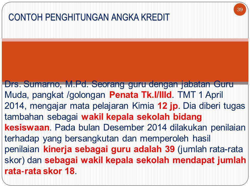 39 CONTOH PENGHITUNGAN ANGKA KREDIT Drs.Sumarno, M.Pd.