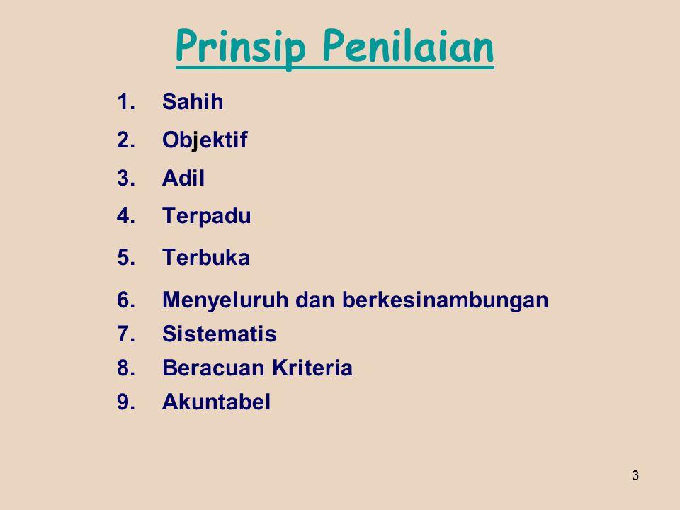 3 Prinsip Penilaian 1.Sahih 2.Objektif 3.Adil 4.Terpadu 5.Terbuka 6.Menyeluruh dan berkesinambungan 7.Sistematis 8.Beracuan Kriteria 9.Akuntabel