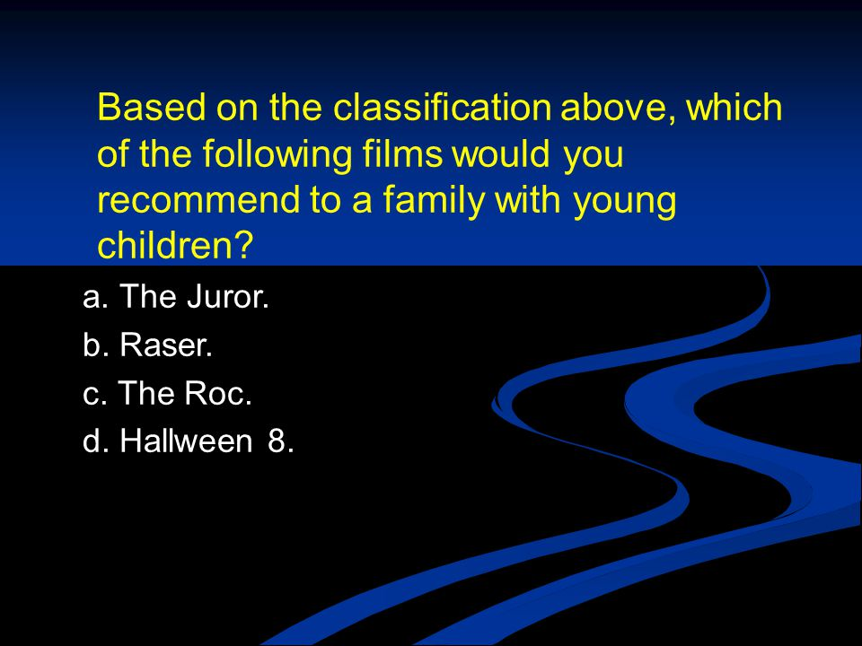 Based on the classification above, which of the following films would you recommend to a family with young children.