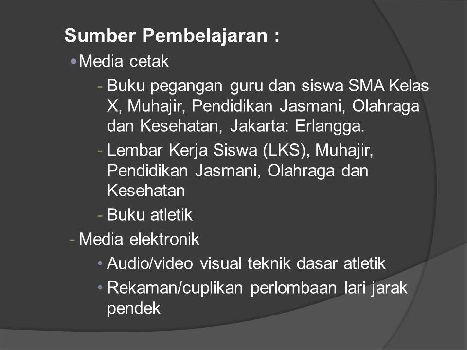 Sumber Pembelajaran : Media cetak -Buku pegangan guru dan siswa SMA Kelas X, Muhajir, Pendidikan Jasmani, Olahraga dan Kesehatan, Jakarta: Erlangga. -