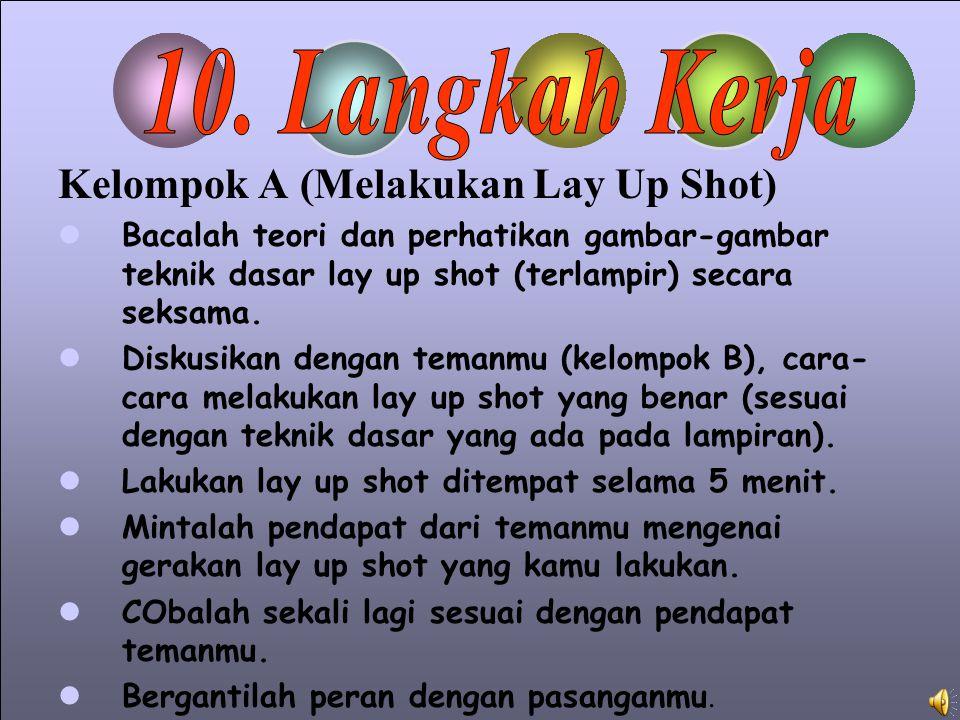 Kelompok A (Melakukan Lay Up Shot) Bacalah teori dan perhatikan gambar-gambar teknik dasar lay up shot (terlampir) secara seksama.