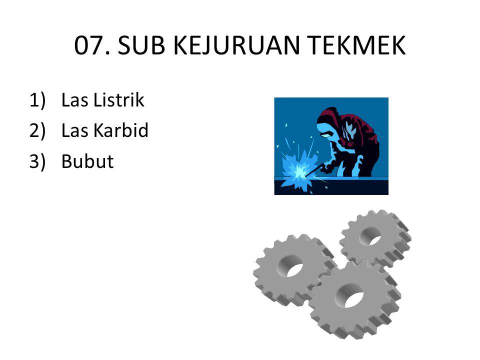 07. SUB KEJURUAN TEKMEK 1) Las Listrik 2) Las Karbid 3) Bubut