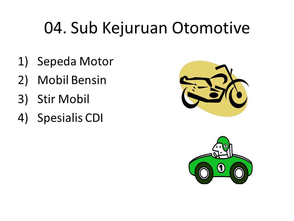 04. Sub Kejuruan Otomotive 1) Sepeda Motor 2) Mobil Bensin 3) Stir Mobil 4) Spesialis CDI