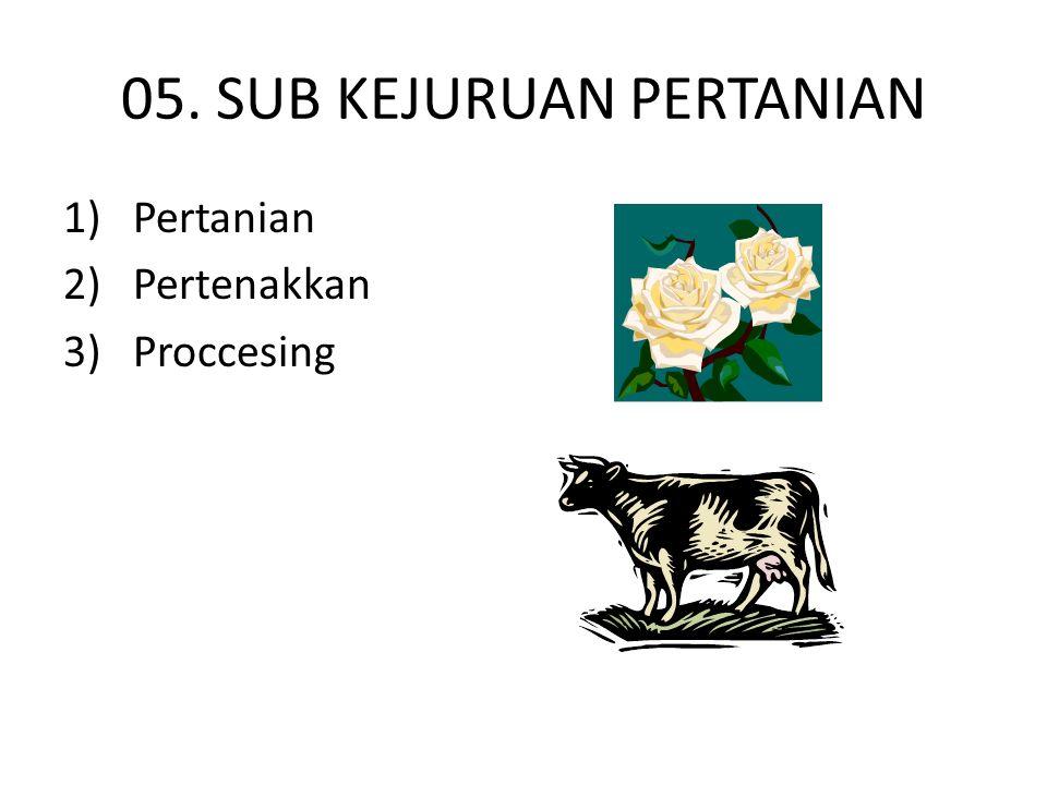 05. SUB KEJURUAN PERTANIAN 1) Pertanian 2) Pertenakkan 3) Proccesing
