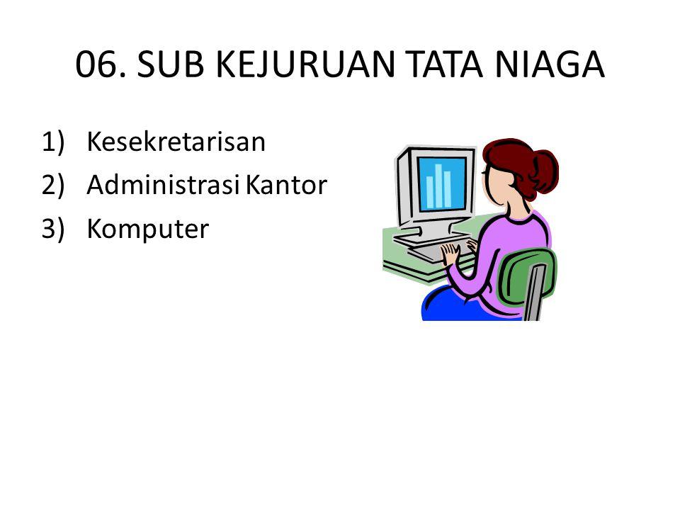 06. SUB KEJURUAN TATA NIAGA 1) Kesekretarisan 2) Administrasi Kantor 3) Komputer