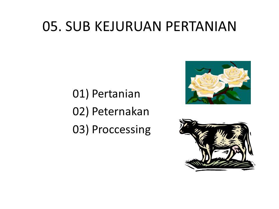 05. SUB KEJURUAN PERTANIAN 01) Pertanian 02) Peternakan 03) Proccessing