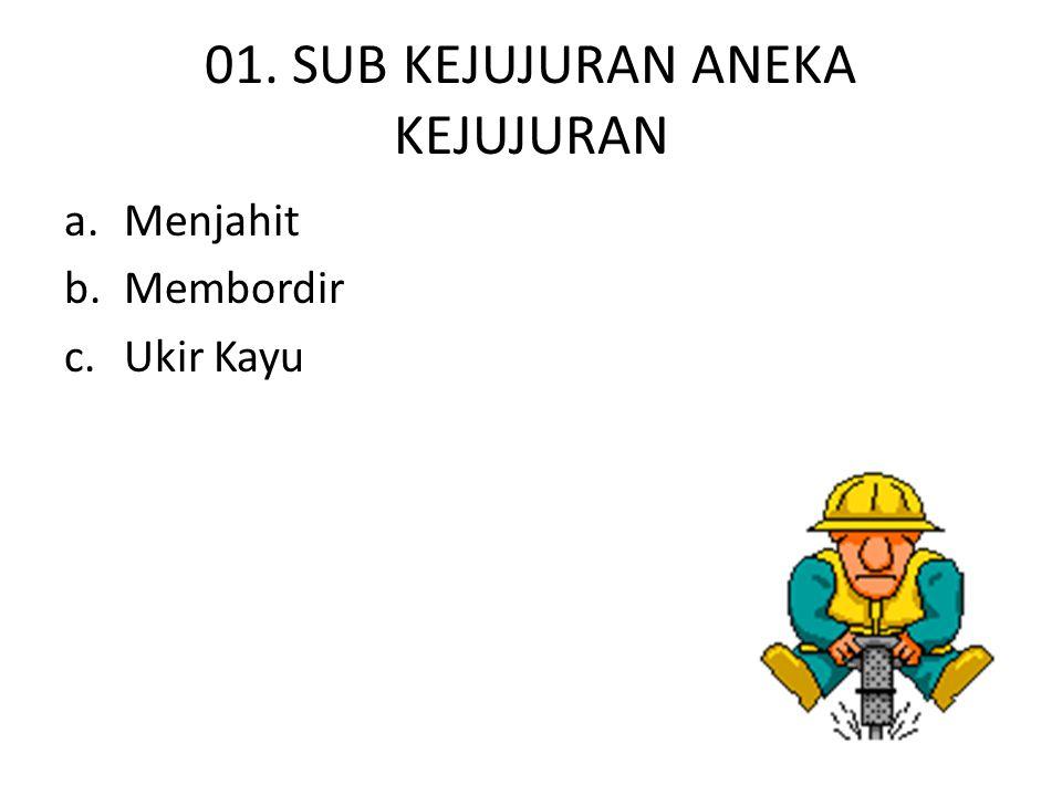 02. SUB KEJUJURAN BANGUNAN a.Furnitur/Mebelair b.Bangunan Kayu c.Bangunan Batu