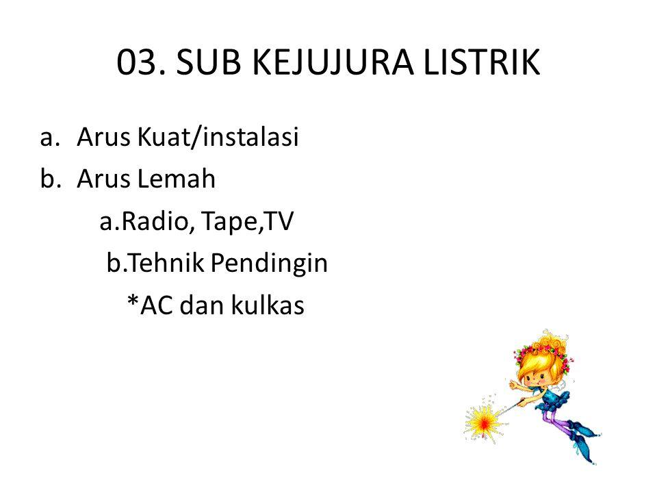 03. SUB KEJUJURA LISTRIK a.Arus Kuat/instalasi b.Arus Lemah a.Radio, Tape,TV b.Tehnik Pendingin *AC dan kulkas