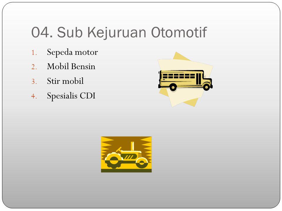 04. Sub Kejuruan Otomotif 1. Sepeda motor 2. Mobil Bensin 3. Stir mobil 4. Spesialis CDI