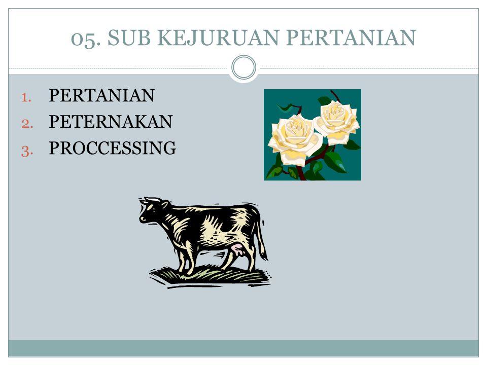 05. SUB KEJURUAN PERTANIAN 1. PERTANIAN 2. PETERNAKAN 3. PROCCESSING