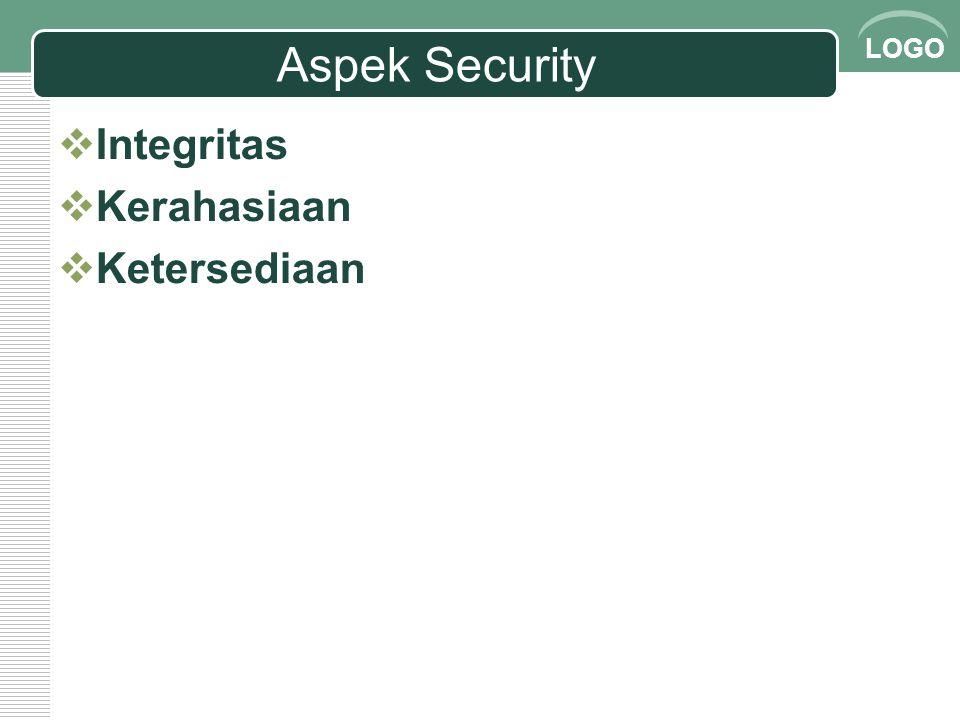 LOGO Aspek Security  Integritas  Kevalidan suatu data  Contoh masalah Apakah data valid.