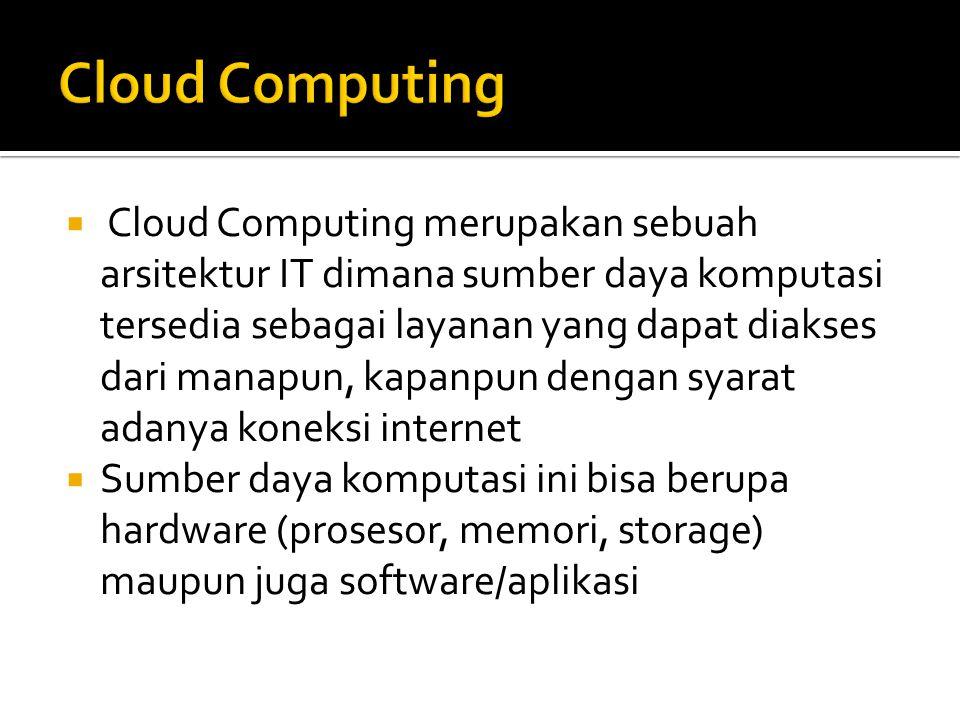  Cloud Computing merupakan sebuah arsitektur IT dimana sumber daya komputasi tersedia sebagai layanan yang dapat diakses dari manapun, kapanpun dengan syarat adanya koneksi internet  Sumber daya komputasi ini bisa berupa hardware (prosesor, memori, storage) maupun juga software/aplikasi
