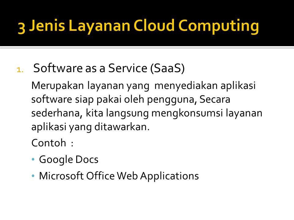 1. Software as a Service (SaaS) Merupakan layanan yang menyediakan aplikasi software siap pakai oleh pengguna, Secara sederhana, kita langsung mengkon