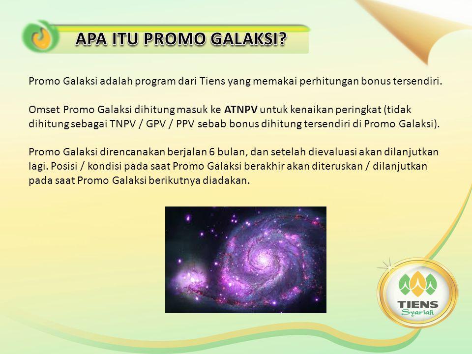 Promo Galaksi adalah program dari Tiens yang memakai perhitungan bonus tersendiri.