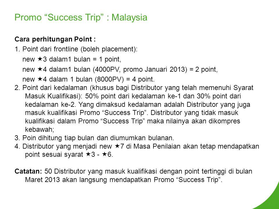Promo Success Trip : Malaysia Cara perhitungan Point : 1.