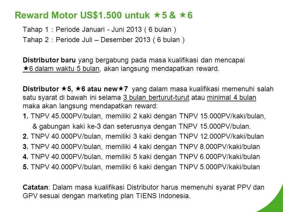 Reward Motor US$1.500 untuk  5 &  6 Tahap 1 : Periode Januari - Juni 2013 ( 6 bulan ) Tahap 2 : Periode Juli – Desember 2013 ( 6 bulan ) Distributor baru yang bergabung pada masa kualifikasi dan mencapai  6 dalam waktu 5 bulan, akan langsung mendapatkan reward.