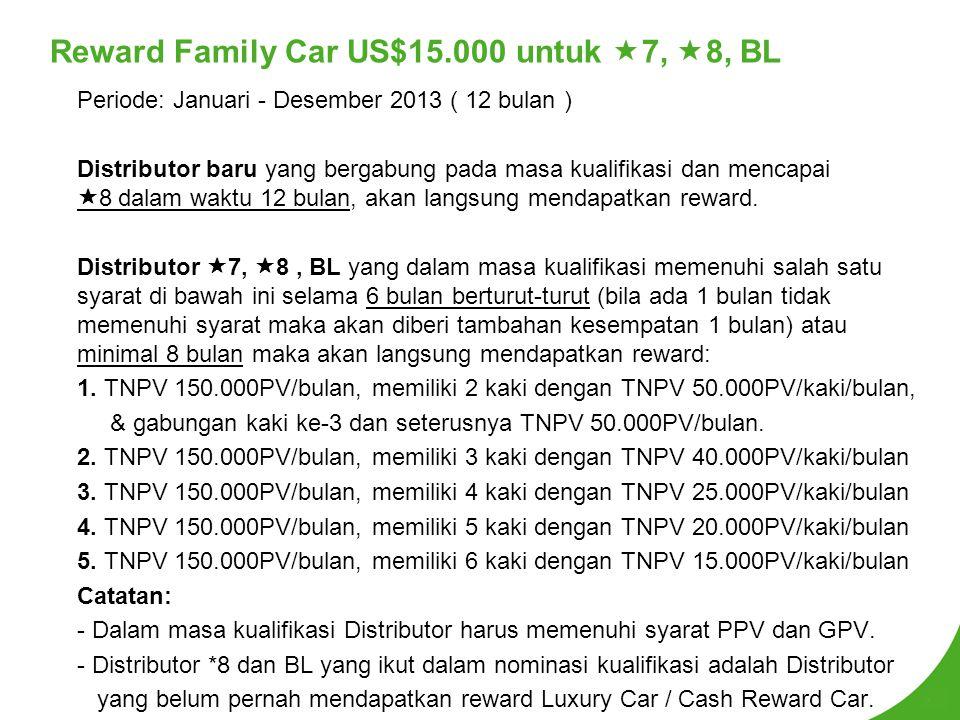 Reward Family Car US$15.000 untuk  7,  8, BL Periode: Januari - Desember 2013 ( 12 bulan ) Distributor baru yang bergabung pada masa kualifikasi dan mencapai  8 dalam waktu 12 bulan, akan langsung mendapatkan reward.