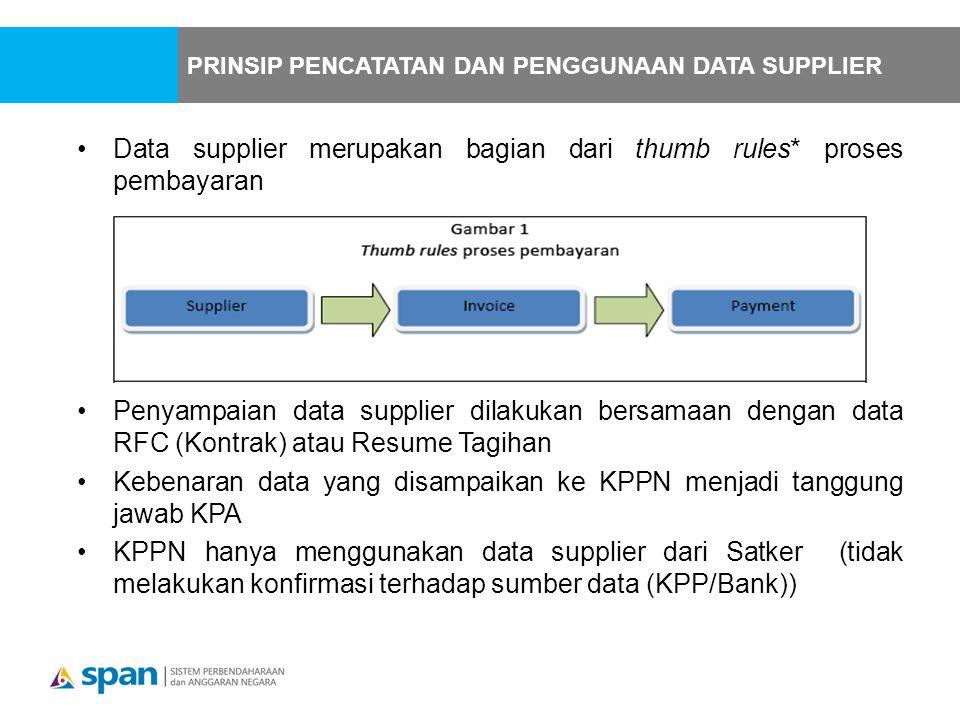 Data supplier merupakan bagian dari thumb rules* proses pembayaran Penyampaian data supplier dilakukan bersamaan dengan data RFC (Kontrak) atau Resume Tagihan Kebenaran data yang disampaikan ke KPPN menjadi tanggung jawab KPA KPPN hanya menggunakan data supplier dari Satker (tidak melakukan konfirmasi terhadap sumber data (KPP/Bank)) PRINSIP PENCATATAN DAN PENGGUNAAN DATA SUPPLIER