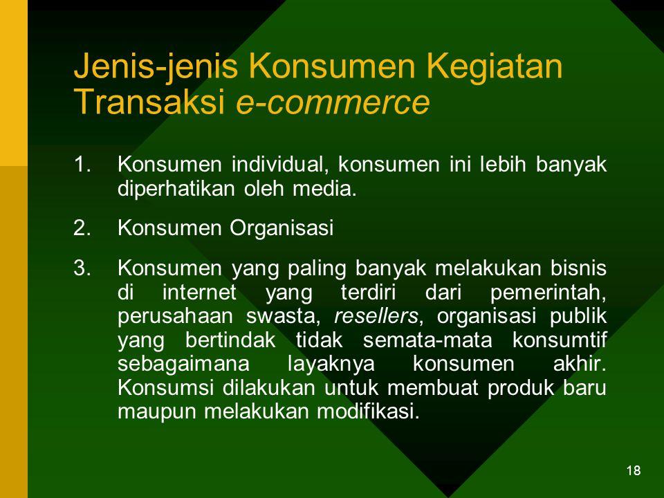 18 Jenis-jenis Konsumen Kegiatan Transaksi e-commerce 1.Konsumen individual, konsumen ini lebih banyak diperhatikan oleh media.