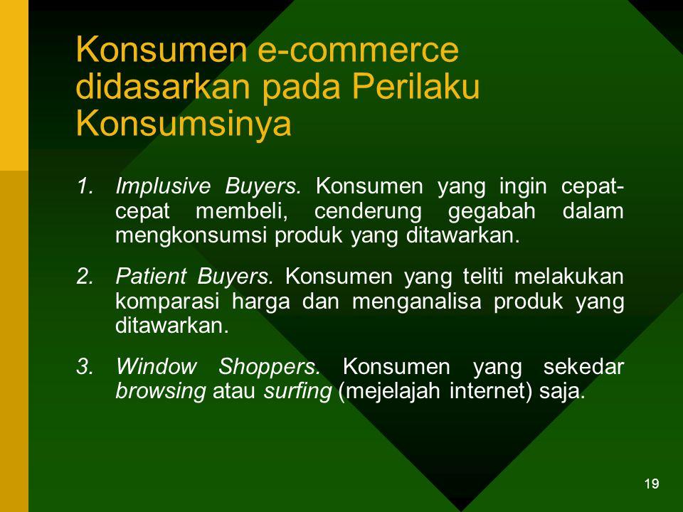 19 Konsumen e-commerce didasarkan pada Perilaku Konsumsinya 1.Implusive Buyers.