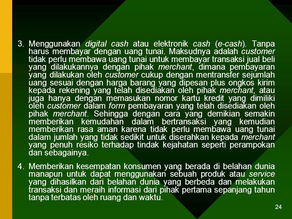 24 3.Menggunakan digital cash atau elektronik cash (e-cash).