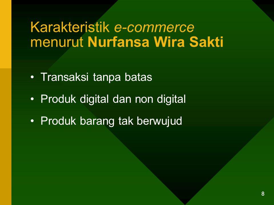 8 Karakteristik e-commerce menurut Nurfansa Wira Sakti Transaksi tanpa batas Produk digital dan non digital Produk barang tak berwujud