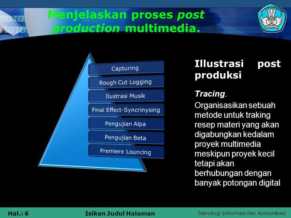 Teknologi Informasi dan Komunikasi Hal.: 6Isikan Judul Halaman Menjelaskan proses post production multimedia. Tracing. Organisasikan sebuah metode unt