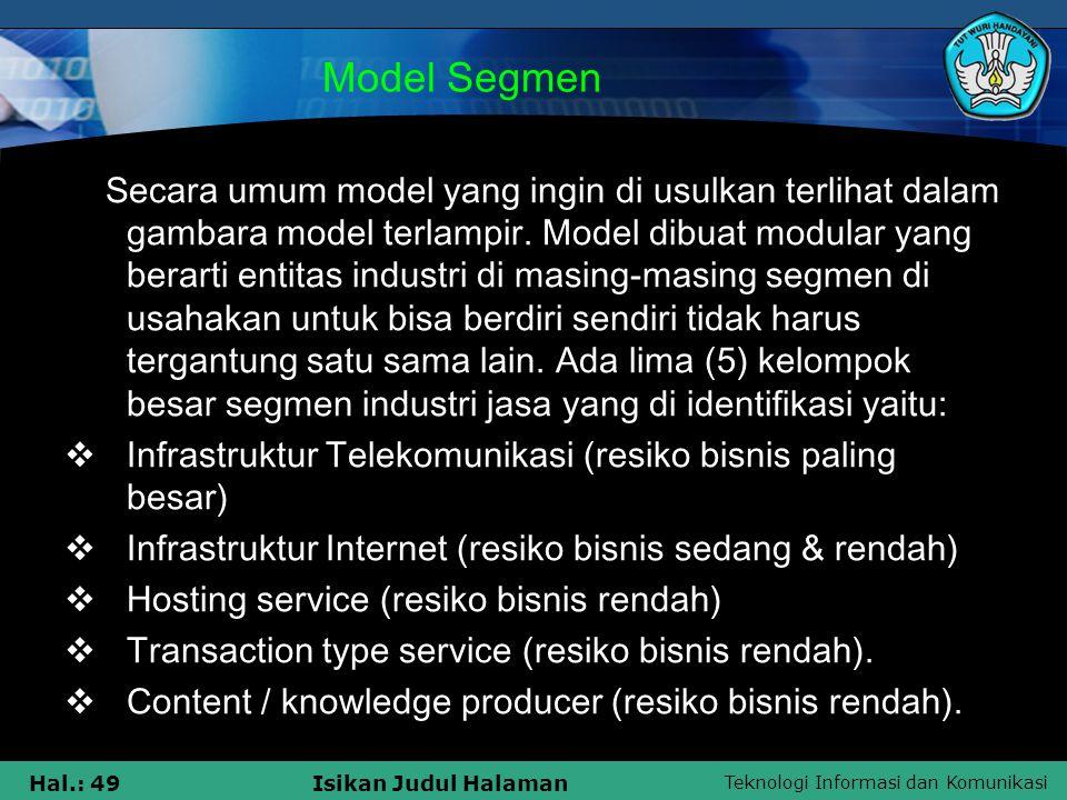 Teknologi Informasi dan Komunikasi Hal.: 49Isikan Judul Halaman Model Segmen Secara umum model yang ingin di usulkan terlihat dalam gambara model terl