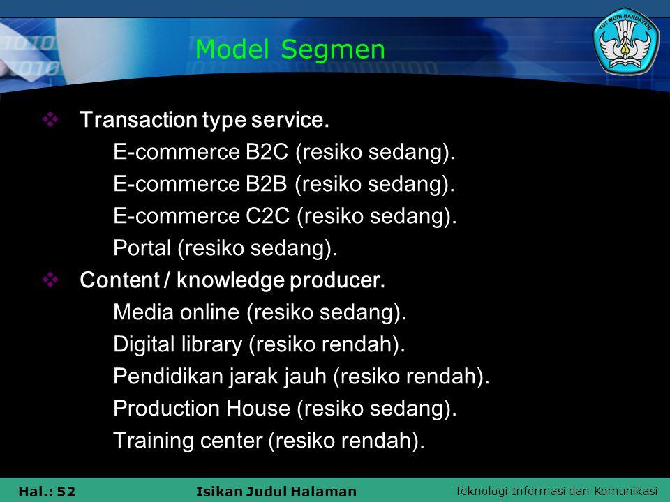 Teknologi Informasi dan Komunikasi Hal.: 52Isikan Judul Halaman  Transaction type service.  E-commerce B2C (resiko sedang).  E-commerce B2B (resiko