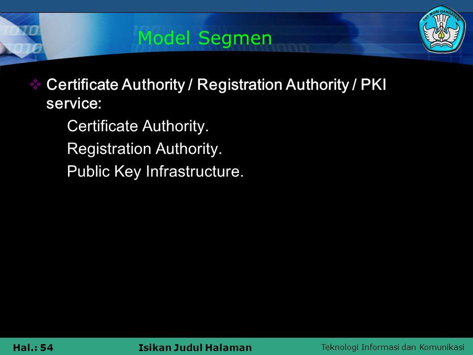 Teknologi Informasi dan Komunikasi Hal.: 54Isikan Judul Halaman  Certificate Authority / Registration Authority / PKI service:  Certificate Authorit