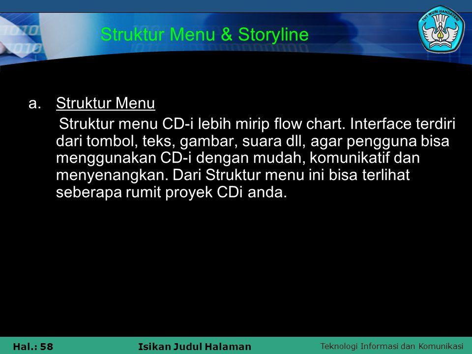 Teknologi Informasi dan Komunikasi Hal.: 58Isikan Judul Halaman Struktur Menu & Storyline a.Struktur Menu Struktur menu CD-i lebih mirip flow chart. I
