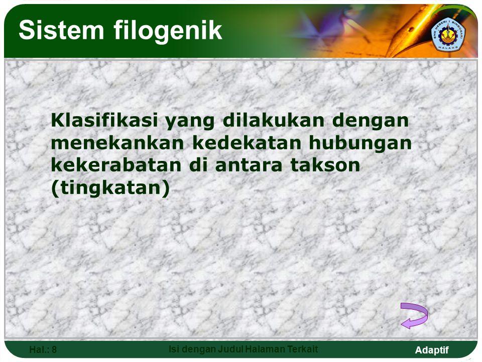 Adaptif Hal.: 7 Isi dengan Judul Halaman Terkait Sistem alami Klasifikasi yang dilakukan dengan cara mengelompokan organisme berdasarkan ciri-ciri mor