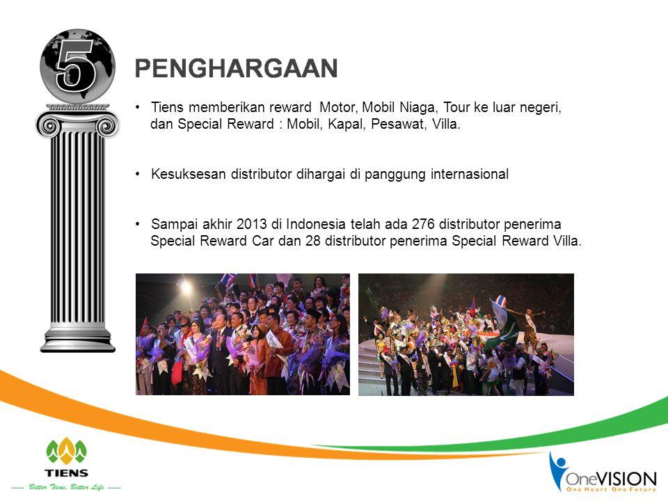Tiens memberikan reward Motor, Mobil Niaga, Tour ke luar negeri, dan Special Reward : Mobil, Kapal, Pesawat, Villa.