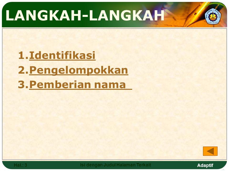 Adaptif Hal.: 3 Isi dengan Judul Halaman Terkait LANGKAH-LANGKAH 1.IdentifikasiIdentifikasi 2.PengelompokkanPengelompokkan 3.Pemberian namaPemberian nama